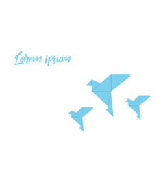 Origami with bird blue colored on a white vector