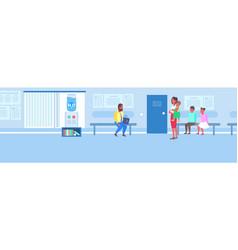 patients waiting line queue in clinic corridor vector image