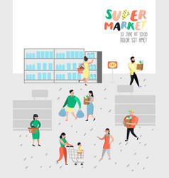 people characters shopping in supermarket vector image