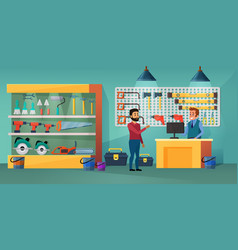 People in tool store cartoon vector