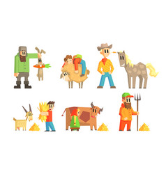 people working on farm set farmers caring vector image