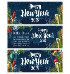 Poster happy new year 2018 calligraphy lettering vector