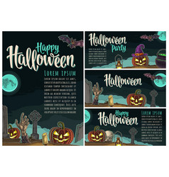 Posters poster with halloween party calligraphy vector