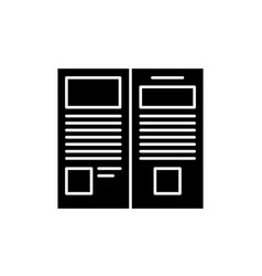 press release black icon sign on isolated vector image