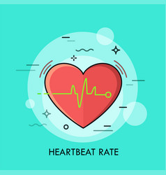 Red heart and heartbeat rate rhythm or vector