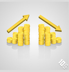 Rising stack of coins vector