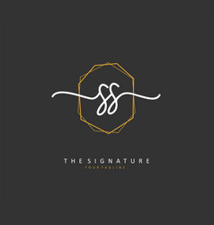 S ss initial letter handwriting and signature vector