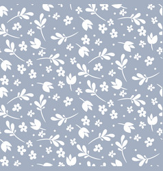 seamless floral pattern blue and white vector image