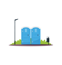 Separated women and men wc semi flat rgb color vector
