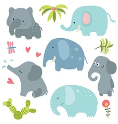 Set funny elephants vector image