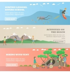 Set of water sports outdoor activity vector