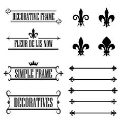 set vintage frames deviders and borders vector image