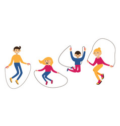 set with family jumping with the jump rope vector image