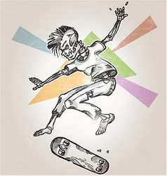 Skeleton skater on abstract background vector