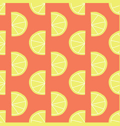 stylized lemon slices seamless pattern red vector image