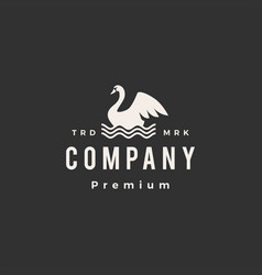 Swan water wave float hipster vintage logo icon vector
