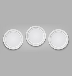 three realistic circle white photo frame isolated vector image