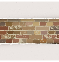 Torn paper on brick wall background vector