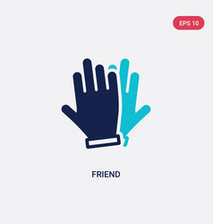 Two color friend icon from hands and gestures vector