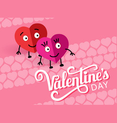 two lovely paper loving hearts caption valentines vector image
