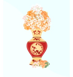 Vase-with-tea-roses vector