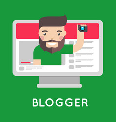 Video blogger on streaming website vector