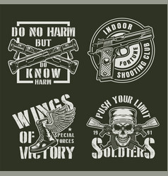 vintage military badges set vector image