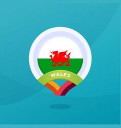 Wales flag map location pin european football vector