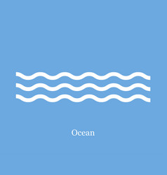 waves icon ocean on a blue background vector image