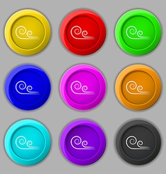 Wind icon sign symbol on nine round colourful vector