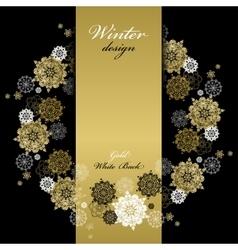 Winter wreath frame design Golden snowflakes vector