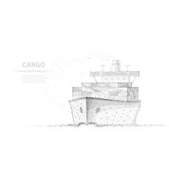 worldwide cargo ship abstract polygonal wireframe vector image