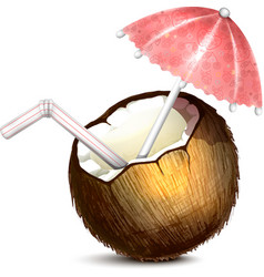 Coconut with Umbrella and Straw vector image vector image