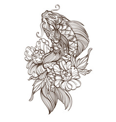 contour image of koi fish with peonies japanese vector image vector image