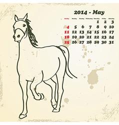 May 2014 hand drawn horse calendar vector image vector image