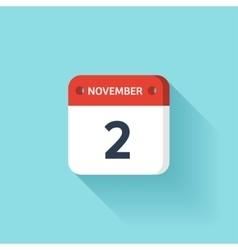 November 2 isometric calendar icon with shadow vector