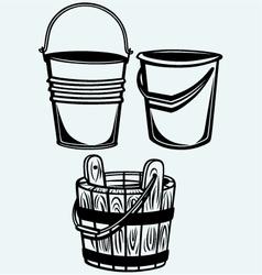 Set of buckets vector image vector image
