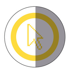 Sticker yellow circular frame with pixelated vector