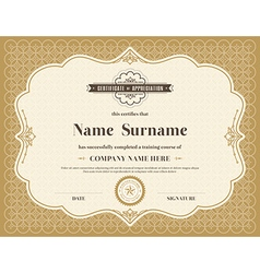 Vintage retro frame certificate template vector image vector image