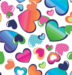 color hearts seamless background vector image vector image