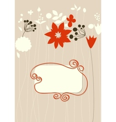 Cute floral background frame for text vector image vector image