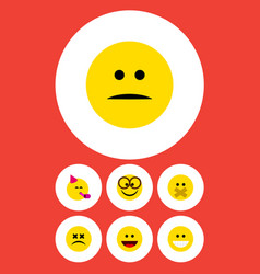 Flat icon emoji set of displeased laugh cross vector