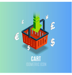 isometric cart icon with currency vector image
