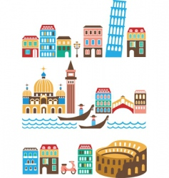 italy landmarks vector image