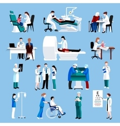 Medical care people fllat icons set vector image vector image