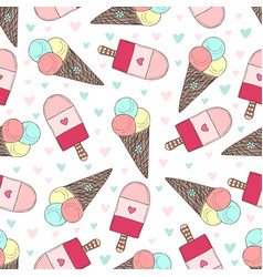 seamless pattern with hand drawn ice creams vector image vector image