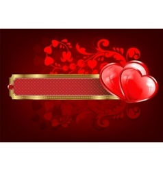 Design with a rectangular frame and two hearts vector image