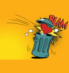 end of love heart thrown in the trash vector image vector image