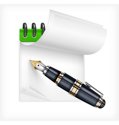 Fountain pen and notebook vector image vector image