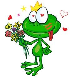 Frog cartoon with flowers vector